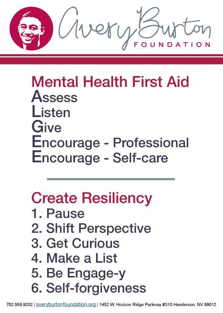 Avery Burton Foundation postcard mental health resiliency